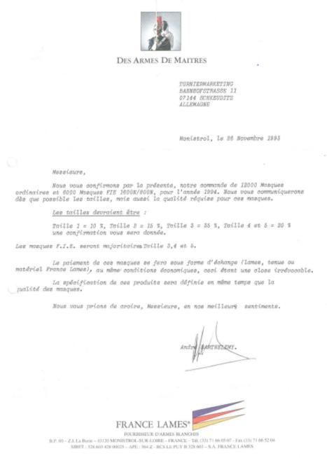 ARTOS 1993 - 12.000 FECHTMASKEN FÜR FRANCE LAMES