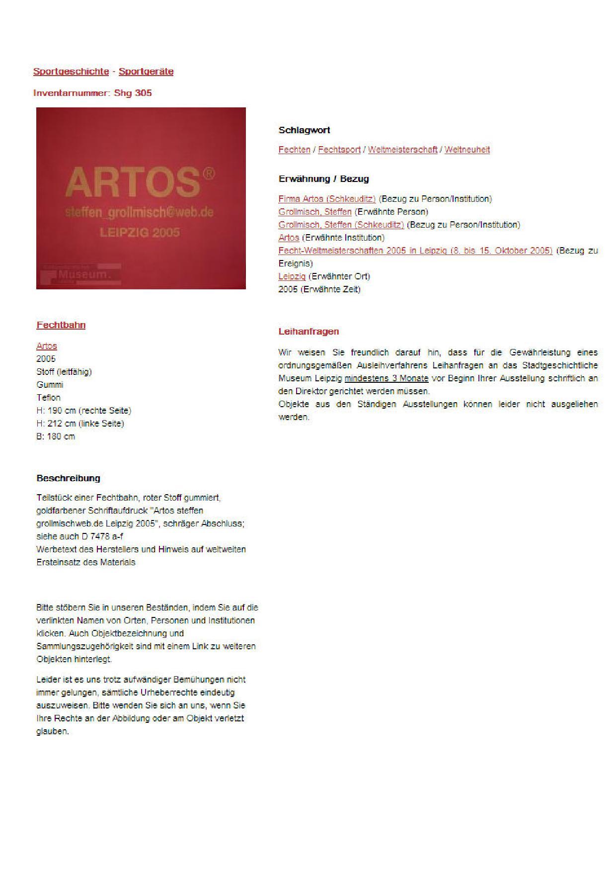 ARTOS 2006 - ARTOS Fencing Piste SCHREIBT GESCHICHTE